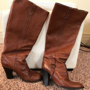 J Crew  Vachetta  High Heel Boots Shoes Sz 8